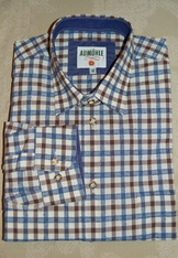 Men's Casual/Trachten Shirt Blue Taupe Check