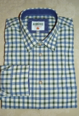 Men's Casual/Trachten Shirt Blue Green Check