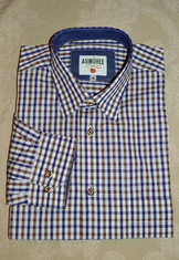 Men's Casual/Trachten Shirt Blue Brown Check