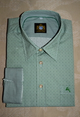 Men's Casual Shirt Green and White Print