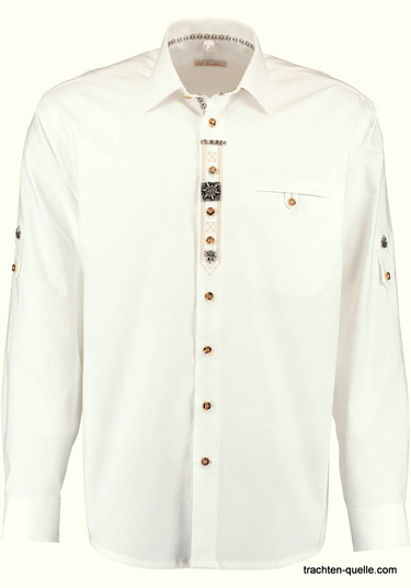 Men's Trachten Shirt White with Edelweiss Placket Details