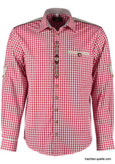 Men's Trachten Shirt Red Check with Embroidered Placket