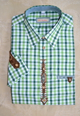Men's Trachten Shirt Two-Tone Green Check