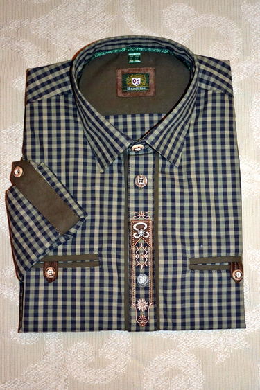Men's Trachten Shirt Olive and Midnight Check