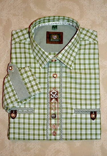 Men's Trachten Shirt Spring Green and White Plaid