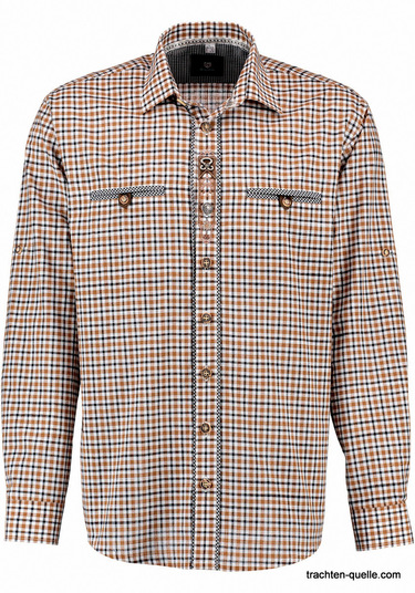 Men's Trachten Shirt Medium Brown Plaid with Embroidery Accents