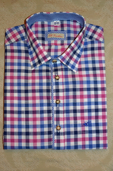 Men's Casual/Trachten Shirt Blue Fuchsia Navy Check