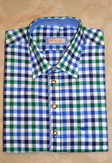 Men's Casual/Trachten Shirt Blue Navy Jade Green Check