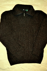 Sweater Cable Knit with Quarter Zip Brown