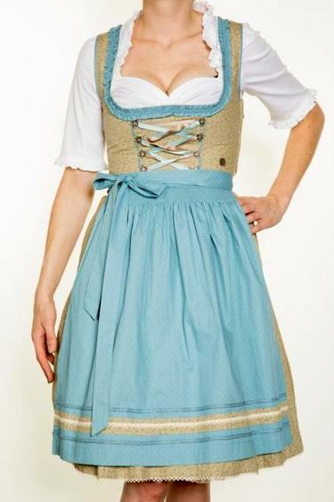 Dirndl Badria by Marjo Light Sage with Aqua