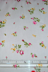 Fabric Turkish Cotton Pink Floral Print by the Meter