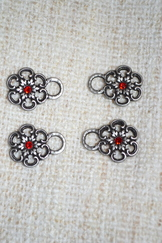 Dirndl Bodice Hooks Pewter Flower with Red Centre (8)