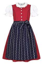 Girls' Dirndl Red Polka Dots with Navy Apron