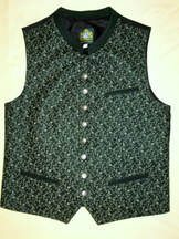 Men's Vest Peter Dark Green with Taupe Brocade