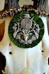 Hat Pin Fringed Radl with Hunting Theme