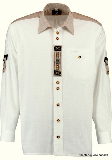 Men's White Trachten Shirt with Front Metal Detail Comfort Fit