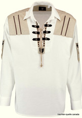 Men's Trachten Shirt White Pullover with Edelweiss Detail