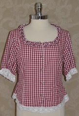 Red and white checked ladies' casual top.