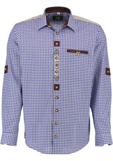 Men's Trachten Shirt with Embroidery Detail Red or Blue Check