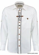 Men's Trachten Shirt Slim Fit White with Tab Detail