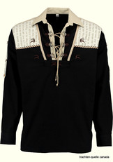 Men's Trachten Shirt Pullover Black