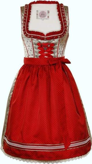 Dirndl Netta Grey Red Knee-Length