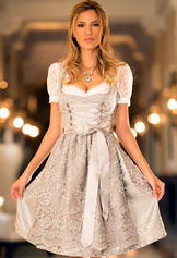 Dirndl Rodina Taupe with Lace Apron