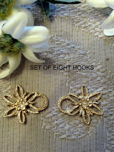 Dirndl Hooks Edelweiss Gold with Clear Rhinestone (Set of 8)