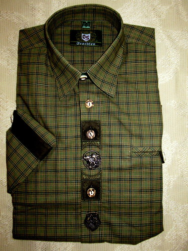 Men's Trachten Shirt Olive Green Plaid