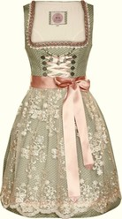 Dirndl Naja Sage Green with Creme Rose