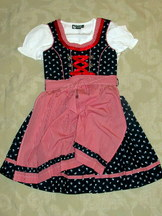 Girls' Dirndl Navy with Red