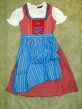 Girls' Dirndl Red Gingham with Light Blue Apron