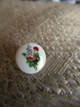 Button with Floral Bouquet Motif Shank Style Set of 10