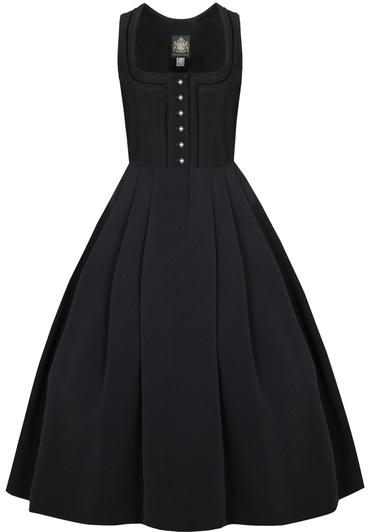 Long black traditional dirndl with button front and scoop neckline.  Pleated skirt and two pockets.  92 cm long, ankle length.