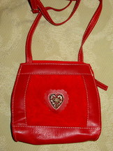 Purse Trachten Red Leather with Suede Insert