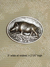 Belt Buckle Oval Antique Silver with Wild Boar