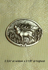 Belt Buckle Oval Antique Silver with Stag