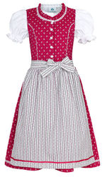 Infant Dirndl Magenta with Striped Apron