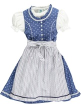 Infant Dirndl Denim Blue with Striped Apron