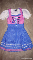Girls' Dirndl with Blouse Pink Floral with Blue Apron Short