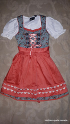 Girls' Dirndl Blue Green Micro Dot Floral with Peach Apron Short