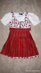 Girls' Dirndl Red Floral Print Button Front