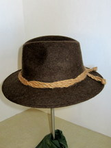 Men's Brown Wool Gaudi Hat with Hemp Banding