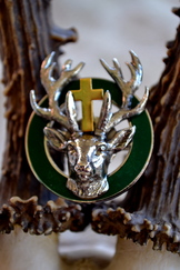 Hat or Lapel Pin Green Enamel with 3-Dimensional Stag
