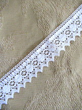 White Cotton Bobbin Lace with Satin Ribbon 3.6 meters