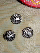Metal Buttons with Elk Design (Six)