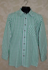 Long sleeved check ered shirt in bright spring green and graphite variegated grey on white.  Faux horn buttons on front placket and cuffs.
