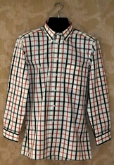 Men's Trachten Shirt - Charcoal/Orange Plaid
