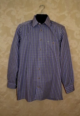 Men's Trachten Shirt - Dark Purple Plaid