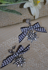 Earrings Edelweiss  with Black Checkered Bow